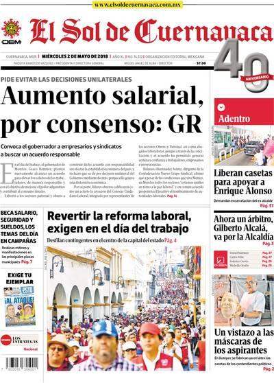 edda359a962 Portada 2 de mayo de 2018 - El Sol de Cuernavaca