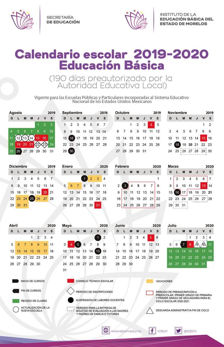 Calendario Escolar 2020 Colombia.Publica Iebem Calendario Escolar 2019 2020 Para Morelos El