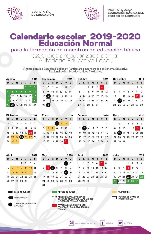 Calendario Julio 2020 Para Imprimir.Publica Iebem Calendario Escolar 2019 2020 Para Morelos El Sol De