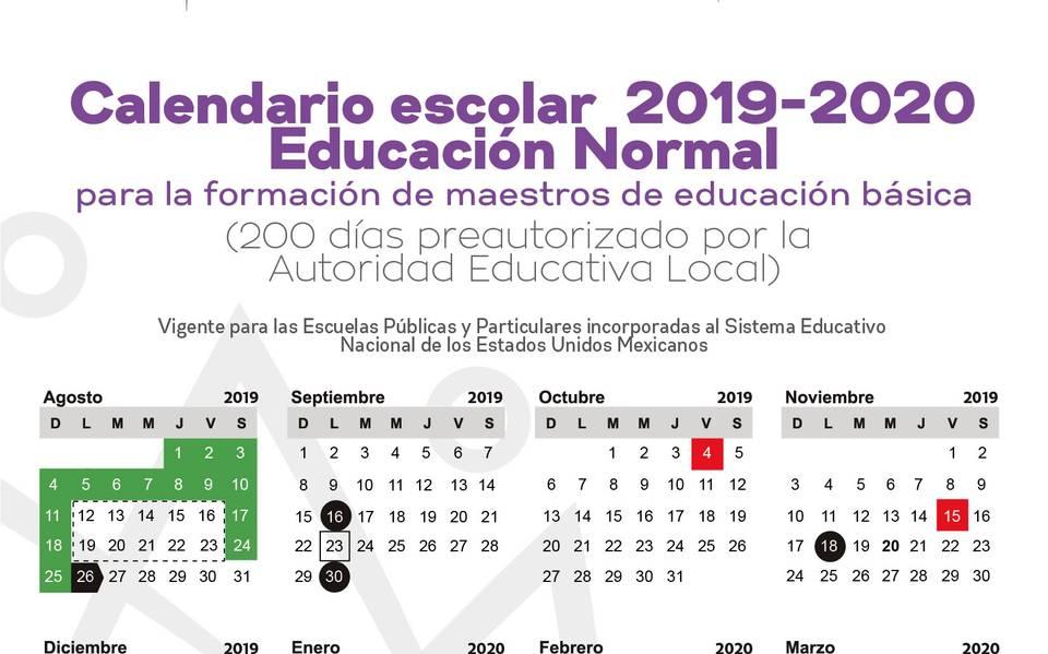 Calendario Febrero 2020 Colombia.Publica Iebem Calendario Escolar 2019 2020 Para Morelos El