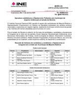 Las candidaturas fueron postuladas por los partidos políticos nacionales y coaliciones con registro vigente