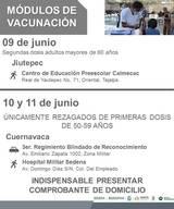 Es importante que las personas presenten una identificación oficial, el comprobante de vacunación de primera dosi; además, indispensablemente un comprobante de domicilio